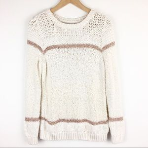 LOFT | Rainbow Stripe Crew Neck Sweater